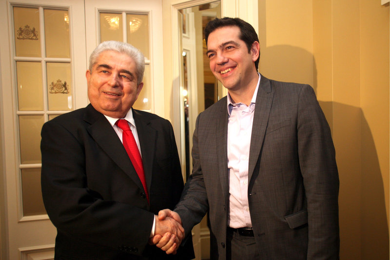 Ο Δημήτρης Χριστόφιας και ο Αλέξης Τσίπρας το 2012