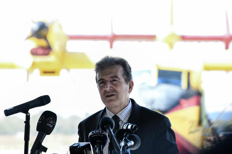 Ο υπουργός Προστασίας του Πολίτη Μιχάλης Χρυσοχΐδης μιλά στην εκδήλωση για το RescEU