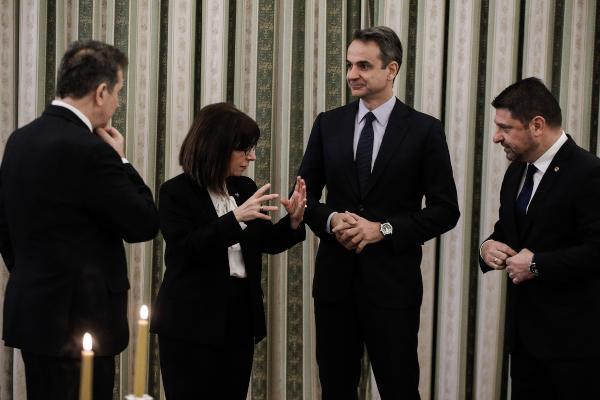 Μιχάλης Χρυσοχοΐδης, Κατερίνα Σακελλαροπούλου, Κυριάκος Μητσοτάκης, Νίκος Χαρδαλιάς