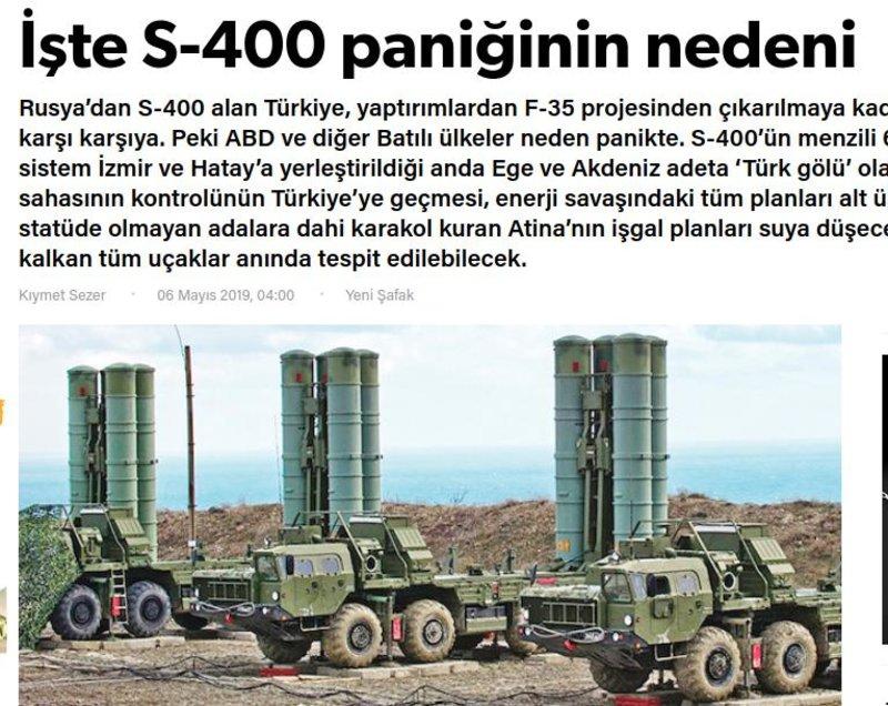 Το δημοσίευμα της Yeni Safak με τον τίτλο «Αυτός είναι ο λόγος του πανικού για τους S-400»