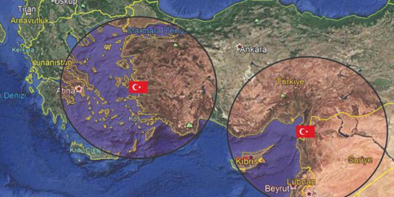 Ο τουρκικός χάρτης που δείχνει την εμβέλεια του πυραυλικού συστήματος S-400