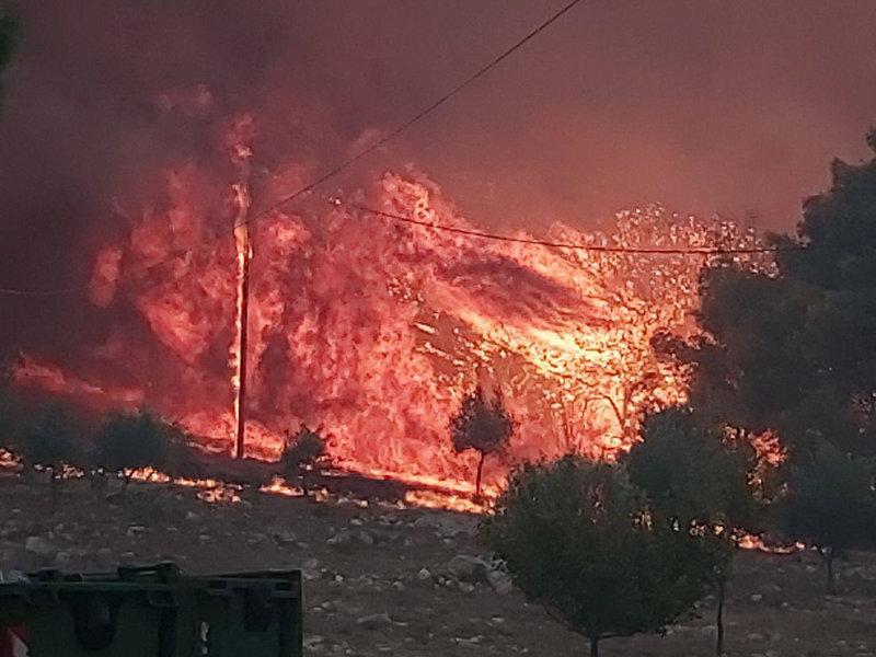 Οι δυνατοί άνεμοι θεριεύουν τις φλόγες