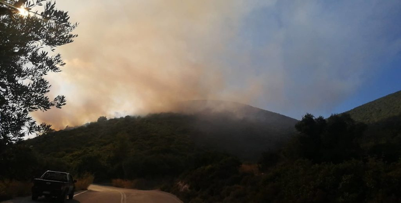 Μαίνεται η πυρκαγιά στη Ζάκυνθο / Φωτογραφία: ermisnews.gr