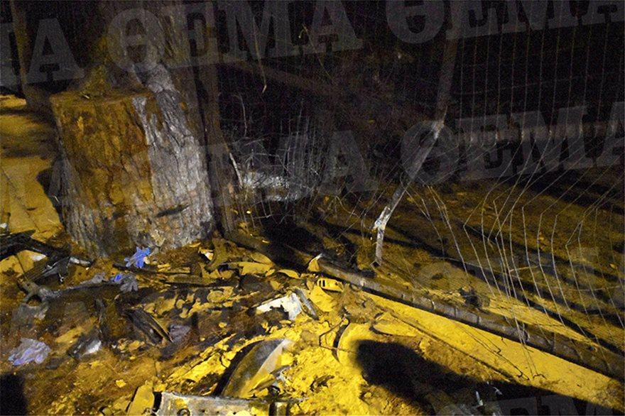 Φωτογραφία από το σημείο του τροχαίου δυστυχήματος που έχασε τη ζωή του ο 23χρονος Αλέξανδρος Ζαχαριάς