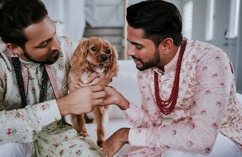 Δύο άντρες κρατούν έναν σκύλο